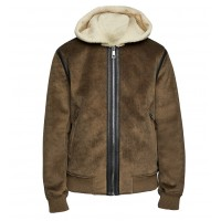Bomber Brown Hooded Men Fur Leather Jacket