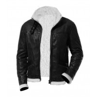 Bomber Black Men Fur Leather Jacket