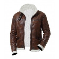 Bomber Brown Men Fur Leather Jacket
