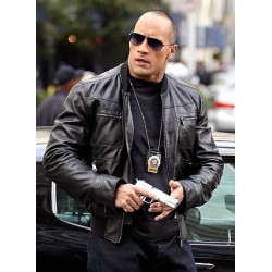 Dwayne Johnson The Other Guys The Rock Black Leather Jacket