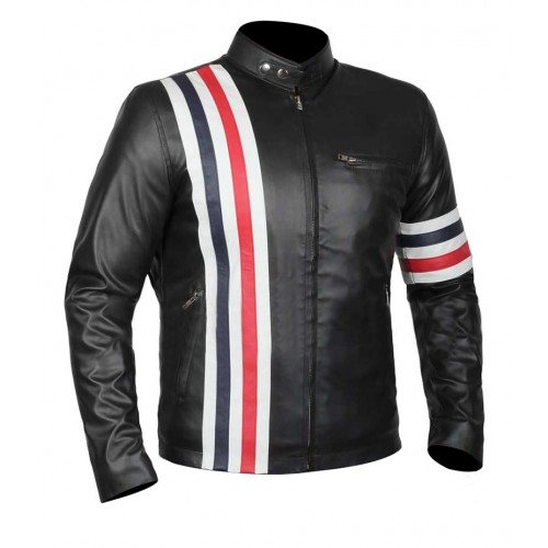 Men USA Flag White Red and Blue Stripe Captain Black Leather Jacket