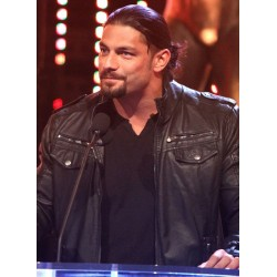 Roman Reigns Wwe Slammy Award Black Leather Jacket