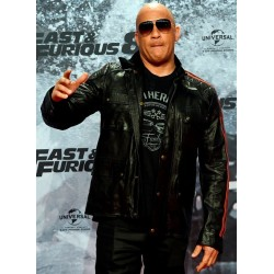 Vin Diesel Fast & Furious 8 Premiere Universal Black Leather Jacket