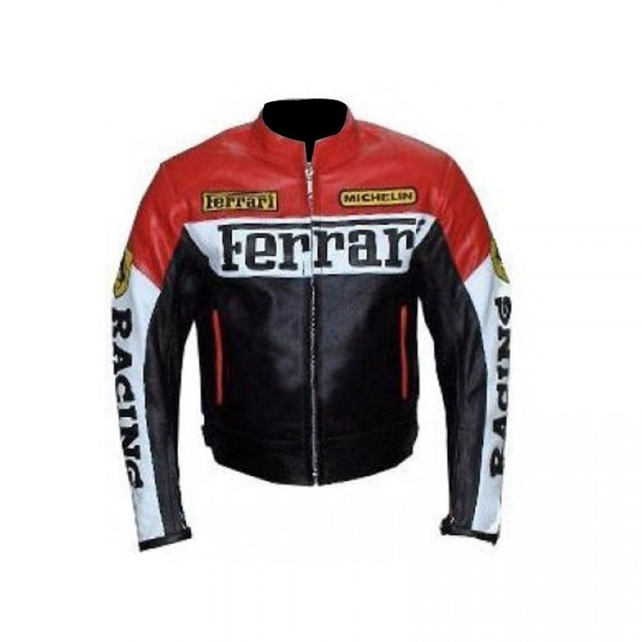 Ferrari Red And Black Leather Jacket Glamour Jackets