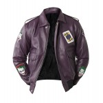 Joker Bomber Purple Leather Jacket