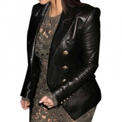 Kim Kardashian Golden Button Black Leather Coat