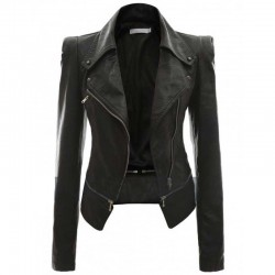 Power Shoulder Women Black Leather Jacket