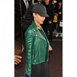 Rihanna Green Biker Pure Leather Jacket