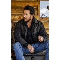Yellowstone Season 4 Rip Wheeler Black Leather Jacket