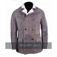 Brunello Cucinelli Solid Taupe Brown Suede Leather Shearling Coat