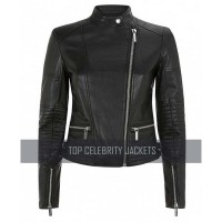 CROPPED BLACK LEATHER JACKET FOR WOMEN