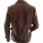 Captain America Evans Brown Motorcycle Leather Jacket