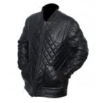 DAVID BECKHAM BLACK LEATHER QUILTED JACKET