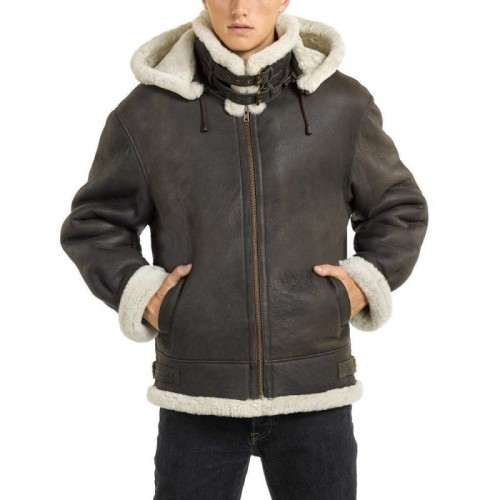 DARK BROWN LEATHER BOMBER JACKET WITH SHEEPSKIN INTERIOR FOR MEN