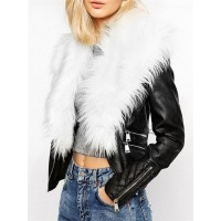Fabulous Fur Collar With Flap Pockets Overcoats [ White Fur ]