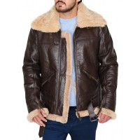 Men Aviator RAF B3 Real Shearling Sheepskin Leather Jacket