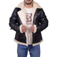 Men B3 bomber Removable Hood Fur Leather Jacket