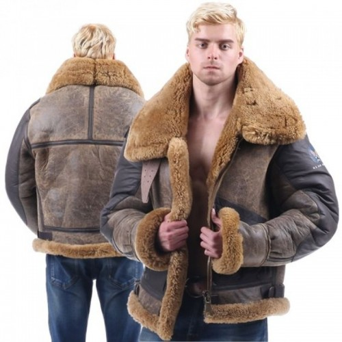 Men Dark Brown Shearling Sheepskin Leather Jacket