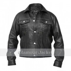 Men's Windy Denim Slim Fit Black Fine Quality Biker Leather Jacket New for Rider