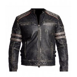 Mens Biker Vintage Black Leather Retro Distressed Jacket