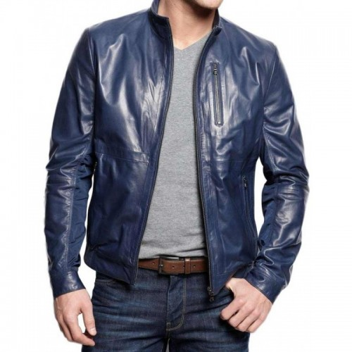 Mens Navy Blue Stylish Leather Jacket