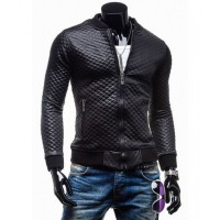 Slim Fit Black Quilted Faux Leather Motorcycle Jacket for Men