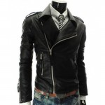 Slim Fit Zipper Mens Asymmetrical Jacket