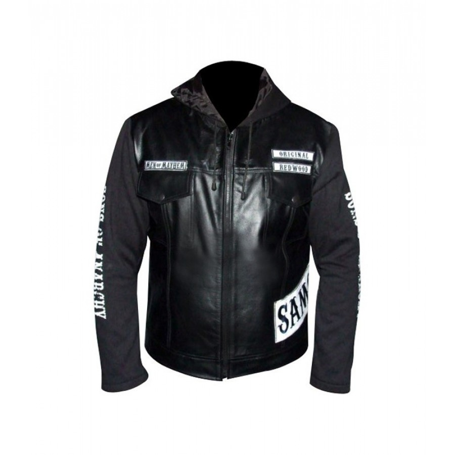 Sons Of Anarchy Hooded Leather Jacket Glamour Jackets