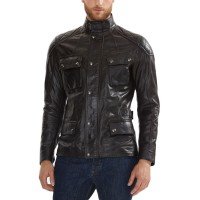 Chest Pocket Brown Leather jacket
