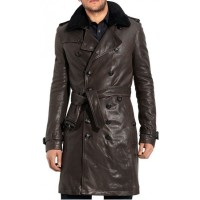 Brown Mens Leather Long Coat