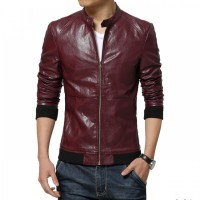 Dark Brown Slimfit Leather Jacket