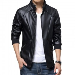Simple Design Black Leather Jacket