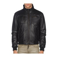Texture Pocket Black Leather Jacket