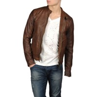 Brown Men Plane Leather Jacket