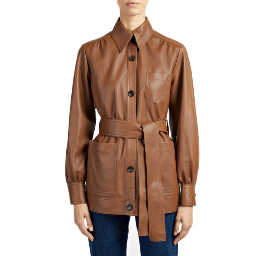 6df1e3759c1f Women Short Brown Leather Coat | Glamour Jackets