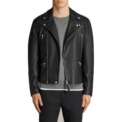 Simple Casual Black Leather Jacket
