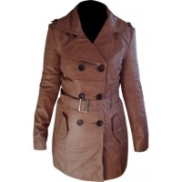 Brown Belted Women Leather Long Coat