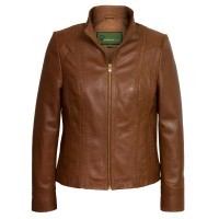Brown Leather Stitched Design Jacket