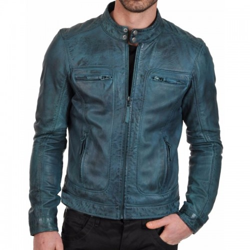 Sky Blue Men Fashion Leather Jacket