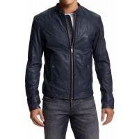 Blue Leather Front Zipper Jacket
