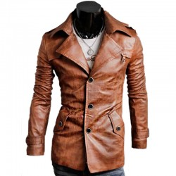Slim-Fit Notched Collar Design Leather Jacket