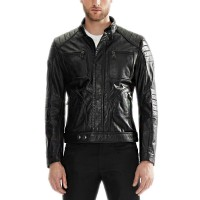 Chest Pocket Black Leather jacket