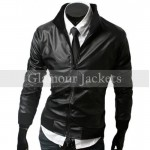 Belted Biker Slim Fit Leather Jacket