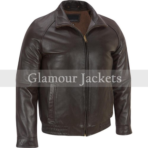 Contemporary Lamb Bomber Men Leather Jacket