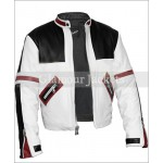 Chaser Box Black and White Fine Quality Bomber Leather Jacket