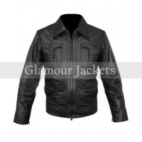 Classic Mens Black Leather Bomber Jacket