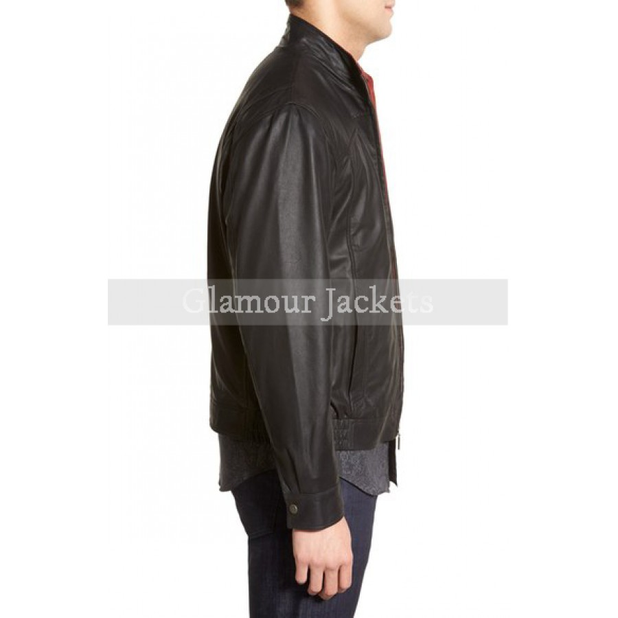 f68f2830f Contrast Trim Lambskin Leather Bomber Jacket
