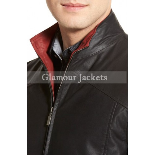 Contrast Trim Lambskin Leather Bomber Jacket