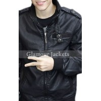 Handmade Justin Bieber Bomber Black Leather Jacket