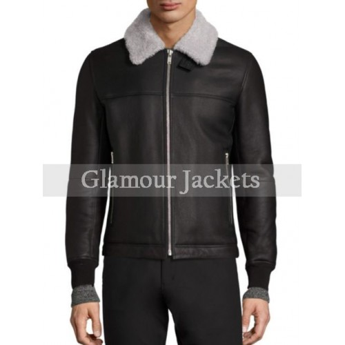 Dobbis Essence Shearling Trimmed Genuine Leather Jacket
